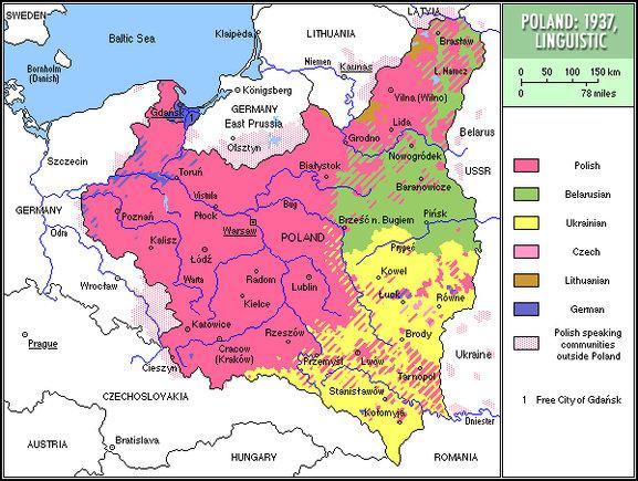 II RP - mapa językowa